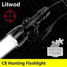 Led 懐中電灯トーチランテルナ光ランプ litwod 耐衝撃、ハード防衛電球 C8 T6 キャンプ狩猟アルミ黒 5 8