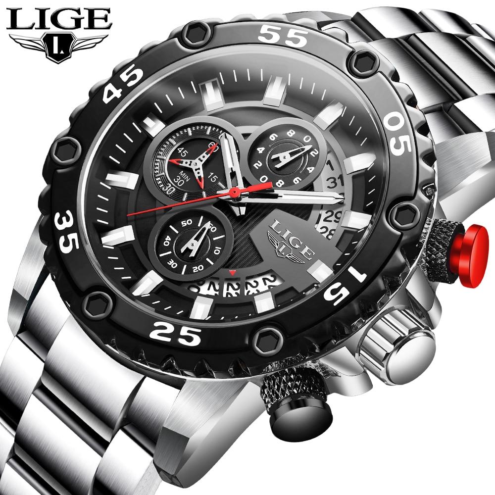 2020 LIGE New Fashion Mens Watches Sport Full Steel Watch Male Military Waterproof Watch Men Quartz Date Clock Relogio Masculino