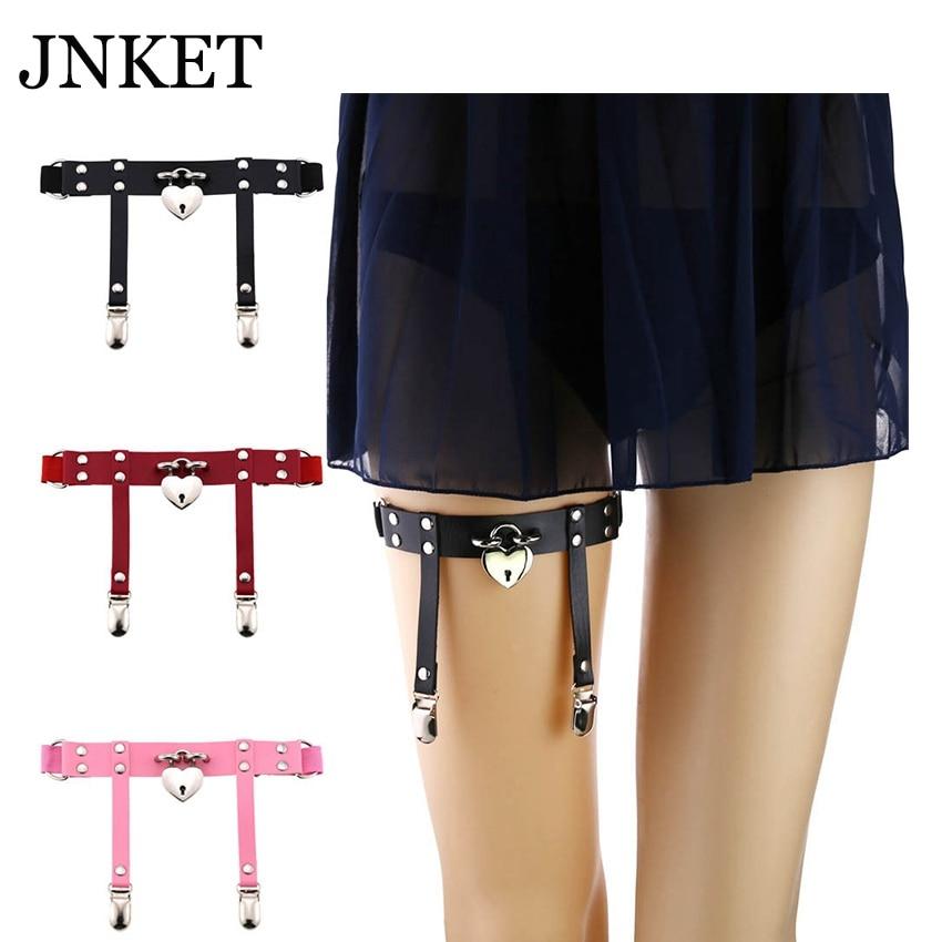 JNKET Punk Peach Heart Lock Garter Belt  Leg Ring Women's Garters Strap PU Leather Suspender  Elastic Body Harness Bondage Belts