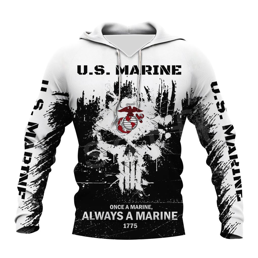 Tessffel America Military Marine Policeman Camo Pullover Soldier Army NewFashion Sweatshirt 3DPrint Casual Hoodies Men/Women D11