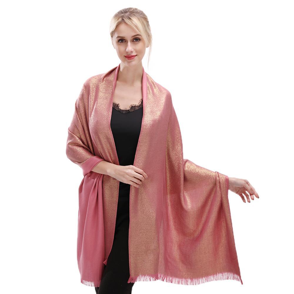 1 Piece Fashion Lurex Gold Glitter Cotton Scarf Plain Long Shawl Women Luxury Headband Muslim Pashmina 180*70cm