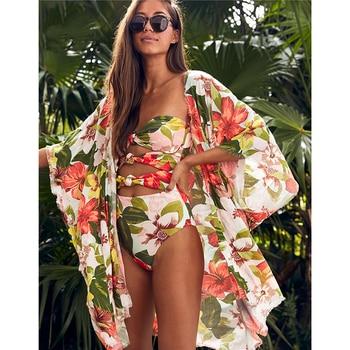 Leaves Print Swimsuit Beach Cover up Tunics for Beach Long Kaftan Bikini Cover up Robe de Plage Sarong Beach Swimsuit cover-ups