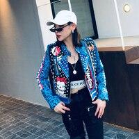 2019 Autumn Women Jacket Coat Rivest Beading Leopard Print Cool Punk Women Pu Leather Coat Top Quality Women Coat Chaqueta Mujer