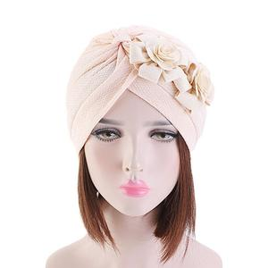 Image 3 - Women Muslim Islamic Elastic Turban Head Scarf Double Large Flower Beanie Hat Headwear Fashion Ruffle Turban Cap