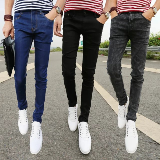 2018 Summer Black And White With Pattern Korean-style Slim Fit Skinny Pants Classic Teenager Elasticity Jeans Men's Pencil Pants
