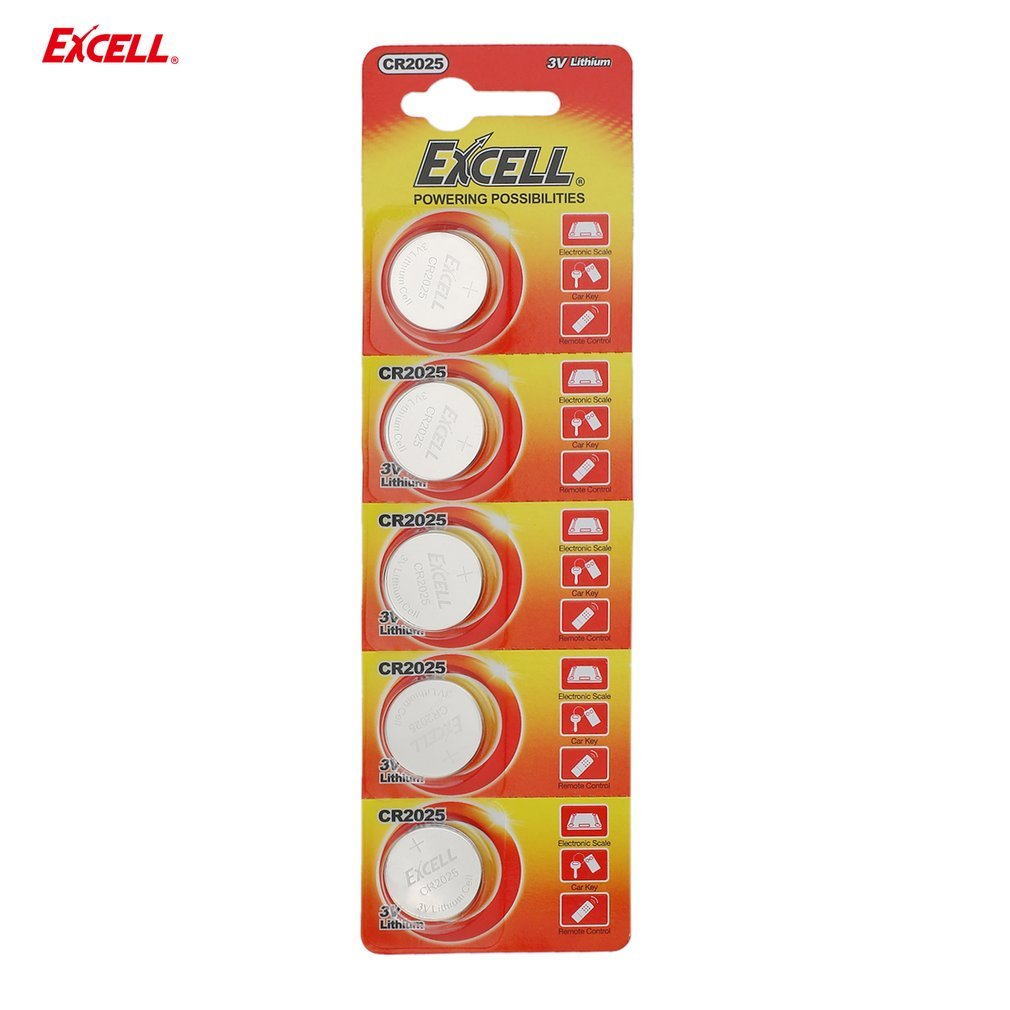EXCELL 5pcs 3V CR2025 Lithium Coin Cell Button Battery for Electronic Scale Car key Remote Control Caculator Dictionary | Watch Batteries