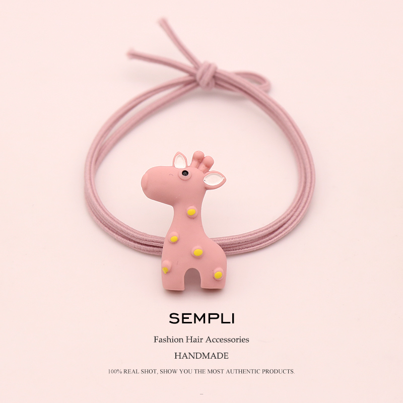 Sempli 100% Nylon High Elasticity Rubber Bands Cute Giraffe Sika Girls Women Elastic Hair Band Kid Children Hair Accessories New