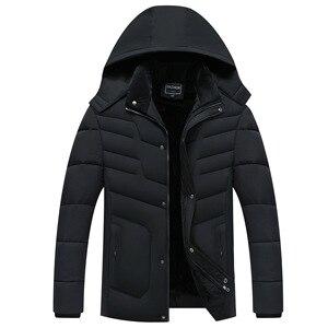 Image 1 - Parka Men Coats 2020 겨울 자켓 남성 두건 후드 방수 아웃웨어 웜 코트 아버지 의류 캐주얼 남성 오버 코트