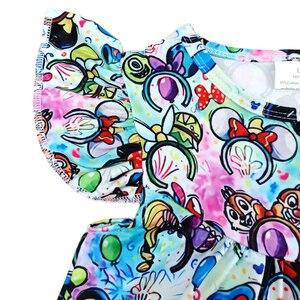 Image 3 - فساتين للفتيات الصغيرات لربيع وصيف 2020 بتصميم جديد فستان بنمط رأس ميكي ملون للأطفال ملابس رفرفة ميلك سيلك