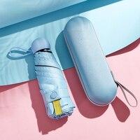 Ombrello a capsula 50% di sconto custodia per occhiali ombrello ultraleggero Mini protezione solare parasole in vinile ombrello da pioggia piccolo soleggiato