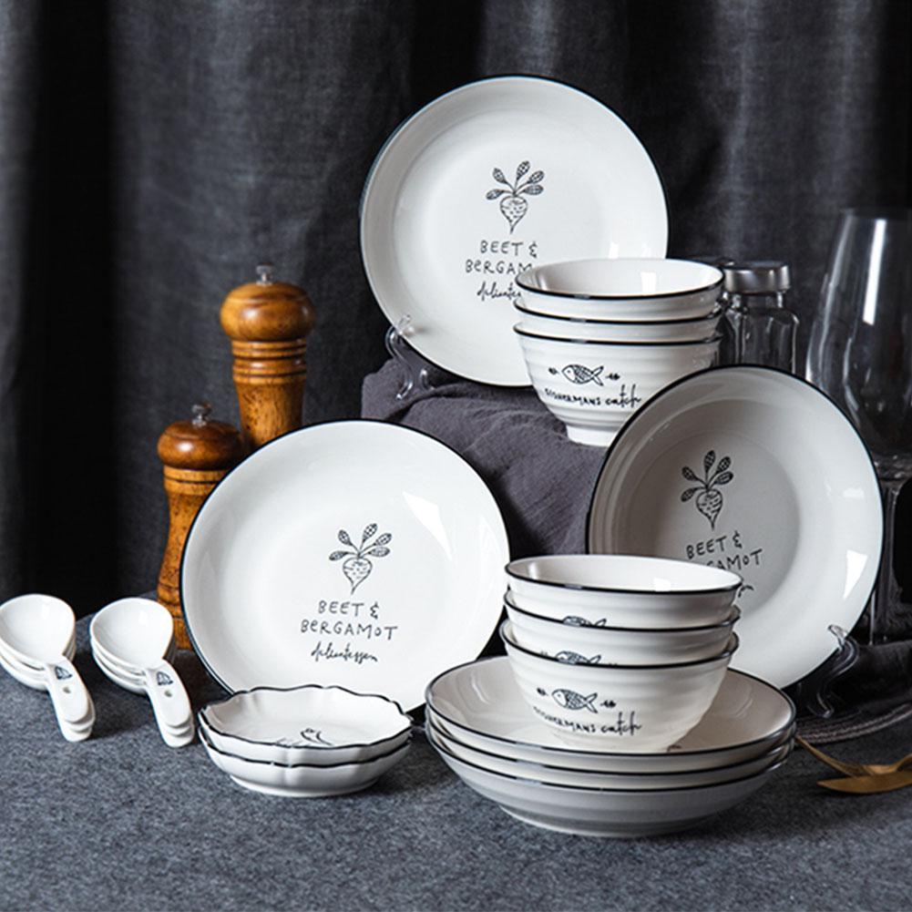 Adeeing ensemble de vaisselle de cuisine   En céramique 20 pièces ensemble de cuisine, ensemble familial en porcelaine, plats à l'intérieur, bols assiette cuillères plat à Sauce
