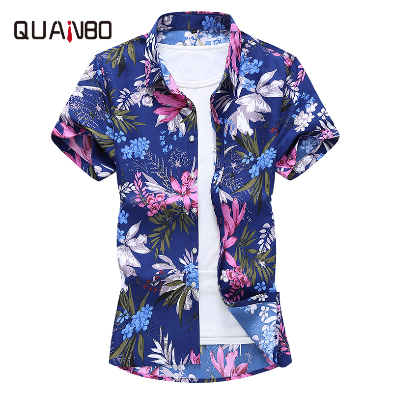 Plus Size Mens Short Shorts New Arrival Summer Printing Flower Shirt 2020 Men Clothes Navy Blue Casual Shirts 5xl 6xl 7xl