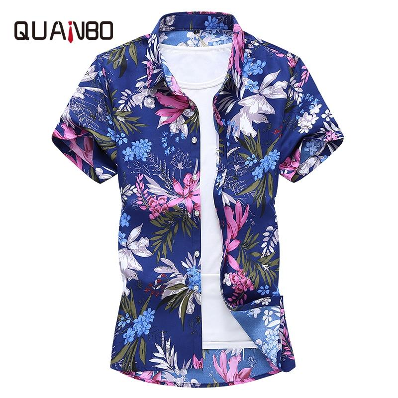 Plus Size Mens Short Shorts New Arrival Summer Printing Flower Shirt 2020 Men Clothes Navy Blue Casual Shirts 5xl 6xl 7xl