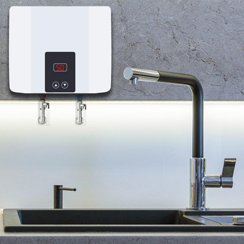 Chauffe-eau électrique instantané sans réservoir, chauffe-eau mural, Thermostat de chauffage rapide, douche chaude pour la cuisine, salle de bains 5500W