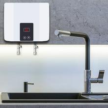 Natychmiastowa bezzbiornikowa elektryczna grzałka do wody naścienny podgrzewacz wody termostat szybkie ogrzewanie gorący prysznic do kuchni łazienka 5500W