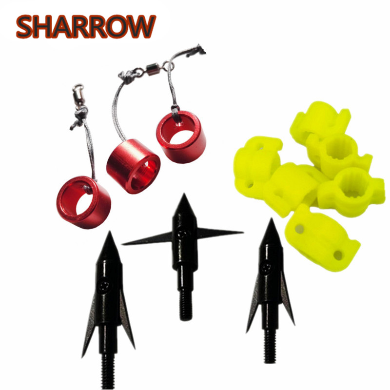 6pcs Yellow Plastic Fishing Slider+3pcs Red Aluminum Alloy Fishing Slider+140Grains 3pcs Bowfishing Arrowhead 3 Combination Tool