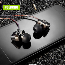 POLVCDG S7 In-ear Headset Mic 3.5mm HiFi Noise Reduction HeadphoneEarbuds With Earphones Double Moving Circle