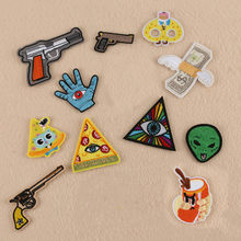 New Dollar Hand Drink Eyes Gun Alien Embroidery Patches for Clothing Iron on Clothes Jeans Appliques Badge Stripe Sticker(China)