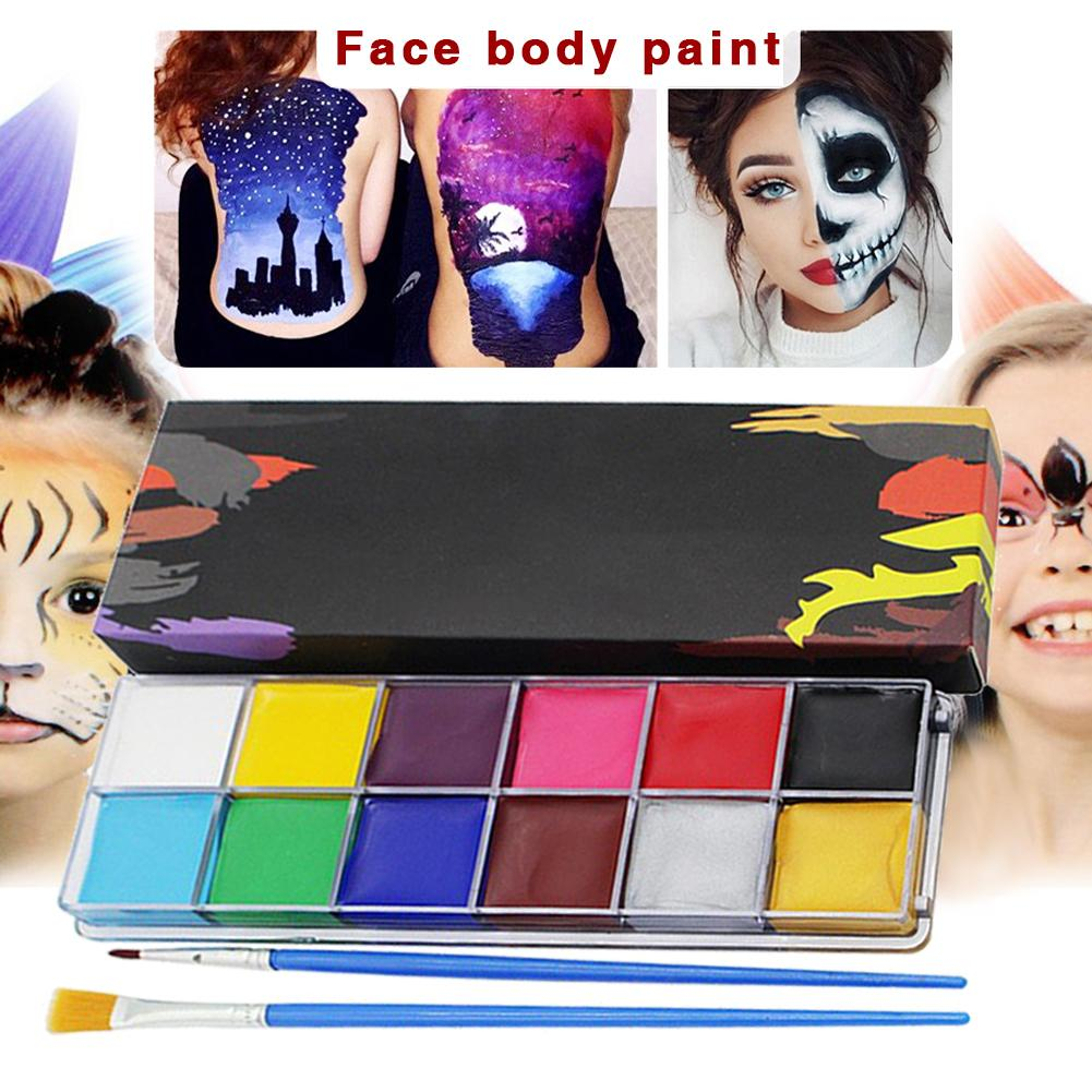 12 Colors Face Body Art Painting Body Paint Oil Painting Tattoo Makeup Cosmetic Bodypainting Halloween Party
