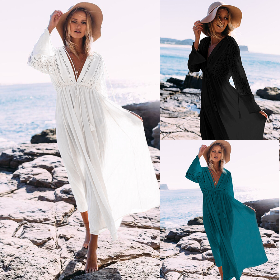 2020 Bikini Cover Up Lace Hollow Swimsuit Beach Dress Women Summer Cotton Swimwear Lady Cover-Ups Bathing Suit Beach Wear Tunic