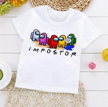 Nowa gra wśród nas Cartoon T Shirt dla dzieci letni Top oszust koszulki z nadrukami chłopcy dziewczęta zabawna koszulka Anime śliczne dzieci odzież tanie i dobre opinie COTTON POLIESTER CN (pochodzenie) Na co dzień Drukuj REGULAR Z okrągłym kołnierzykiem SHORT Pasuje na mniejsze stopy niezwykle Proszę sprawdzić informacje o rozmiarach ze sklepu