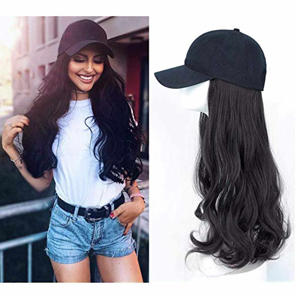 Women's Baseball Hat with Synthetic Hair Extension Long Wavy Hair Extensions with Cap Ladies Special Need ModisChapeau Femme BL#