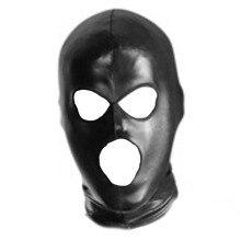 Унисекс кожаная латексная маска с капюшоном, головной убор, закрытые глаза и рот, маска для лица, взрослые секс-игры, маска для косплея, Вечер...