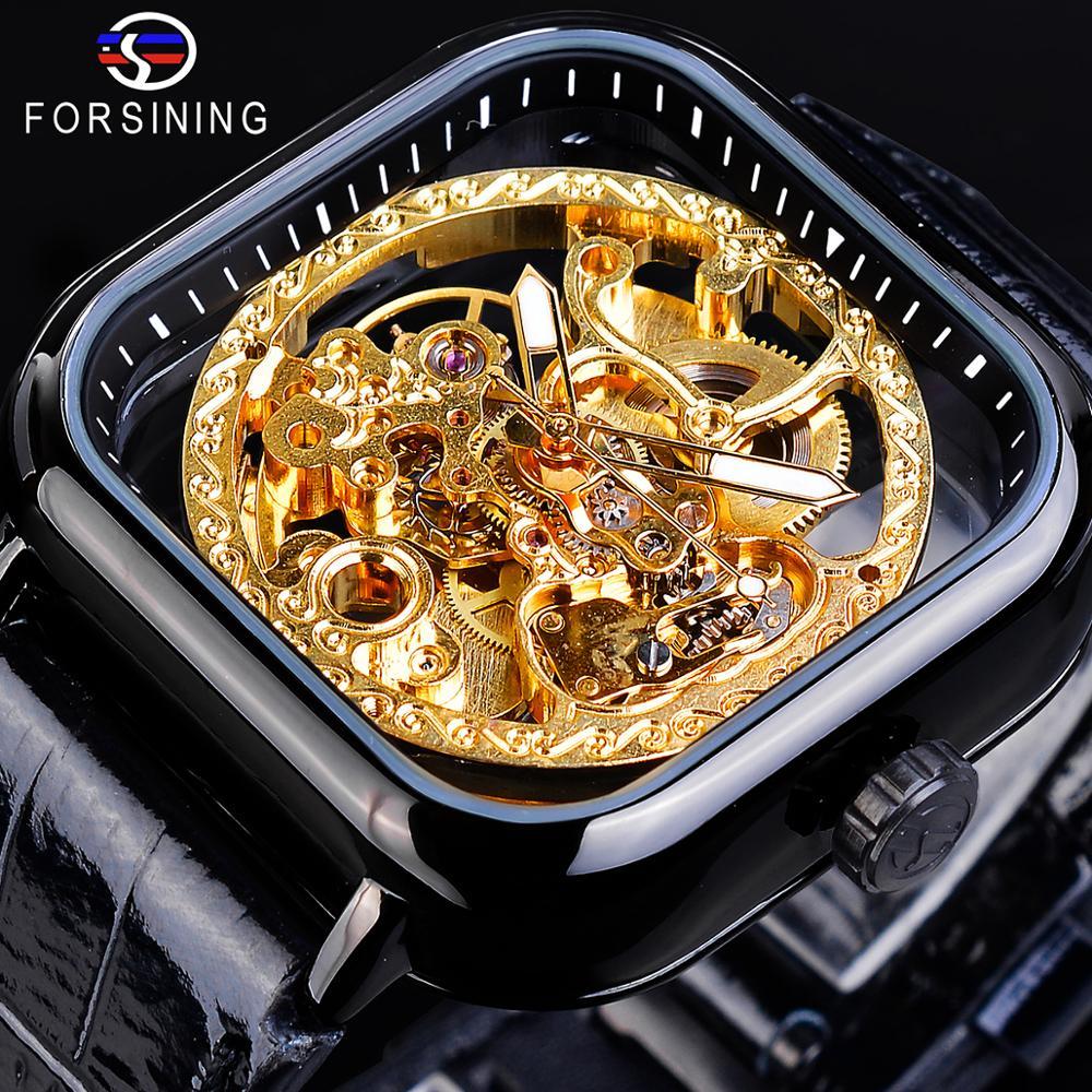 Forsining Luxury Business Fashion Design Golden Gear Movement Mens Automatic Skeleton Wrist Watch Top Brand Luxury Anaglog Clock