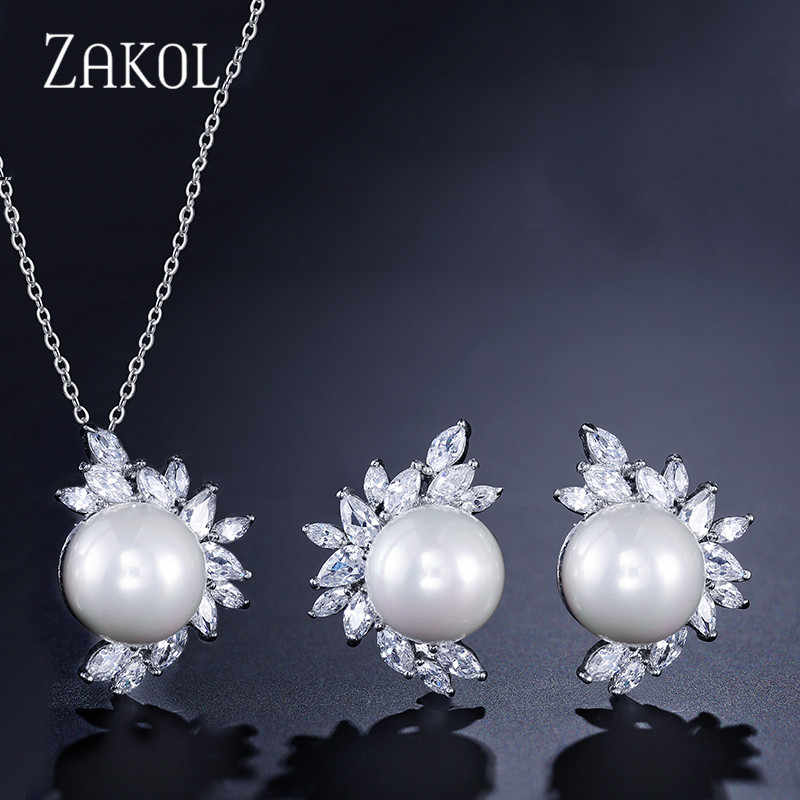 ZAKOL Hot Sale 3 Color Simulated Pearl Wedding Jewelry Set for Women Fashion Flower Cubic Zircon Earrings/Pendant Sets FSSP325