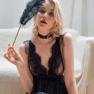 Image 4 - חדש סקסי V צוואר נשית כותונת פרספקטיבת פיתוי תחרה מוצק צבע חתונת כותנות לילה פיות קפלים שמלת שינה