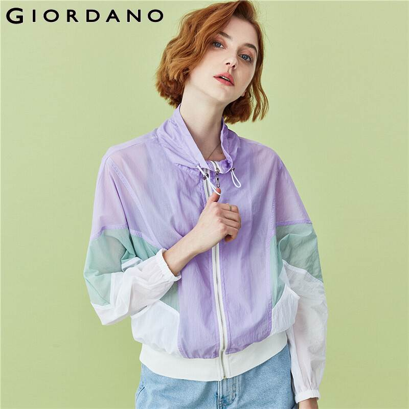 Giordano Women Jackets Stand Collar Contrast Windbreakers Lightweight  Polyester Zip Front Lightweight Chaqueta 90370697
