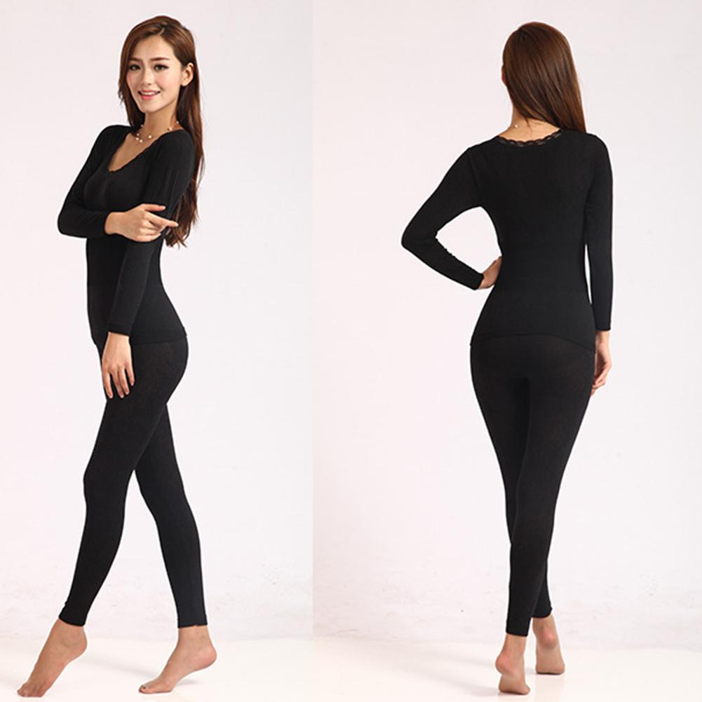 Women's Autumn And Winter Thermal Underwear High Elastic Close O-shirt Top Pajamas Set