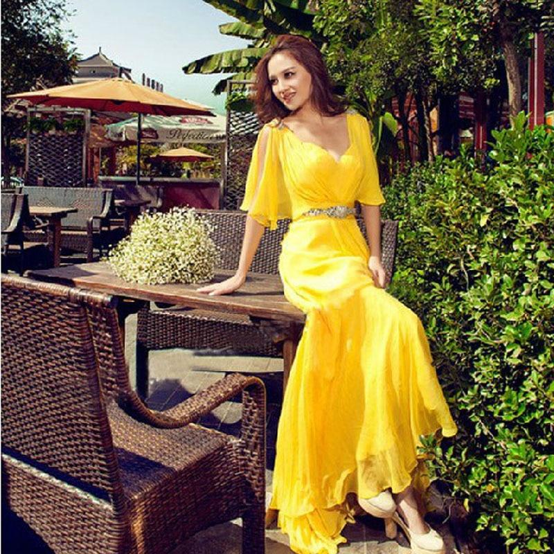 Long Yellow New Robe De Soiree Summer Party Gown 2018 Chiffon Prom Vestido De Festa Graduation Gown Mother Of The Bride Dresses