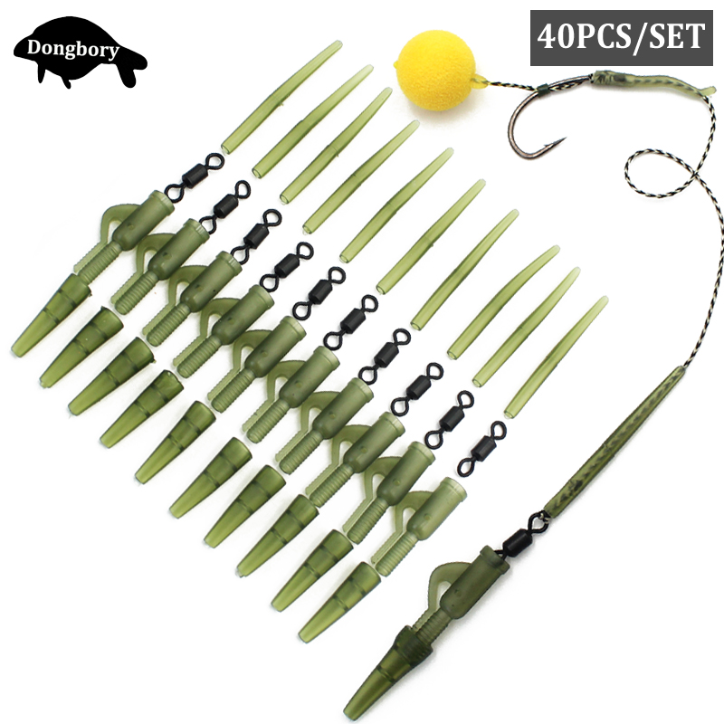 40PCS Carp Rigs Making Accessories Kit Hair Rig Rolling Swivels Anti Tangle Sleeve Plastic Lead Clips Tail Rubber Rig Tackle Kit