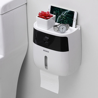 Podwójna warstwa darmowym przepychaczem wodoodporny uchwyt na papier toaletowy do montażu na ścianie samoprzylepne pudełko na chusteczki PI669