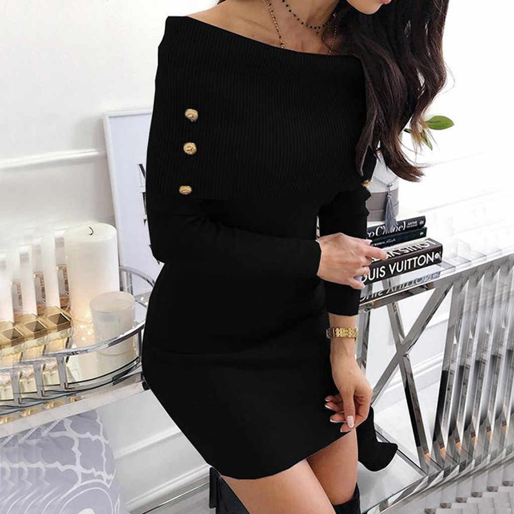 Sexy Off Shoulder Jurk vrouwen Winter Mode Strakke Pakket Effen Hip Jurken Dames Lange Mouwen Bodycon Party Mini Jurk 2020