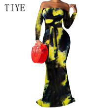 TIYE Sexy Off Shoulder Long Sleeve Wrapped Chest Tie-dyed Slim Bag Hip Fishtail Dress Summer Boho Beach Elegant Maxi Dresses все цены