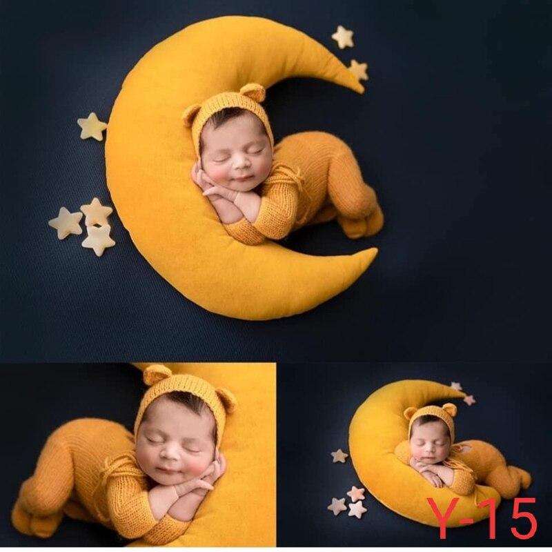 Новорожденный Подставки для фотографий аксессуары ребенок позирует подушка в форме полумесяца + звезды + шляпа студийной съемки новорожден...