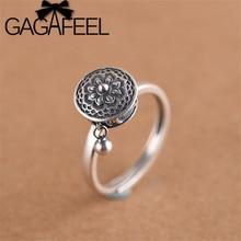 Anello in argento Sterling S925 con anello aperto Mantra a sei parole da donna con anello in argento tailandese retrò