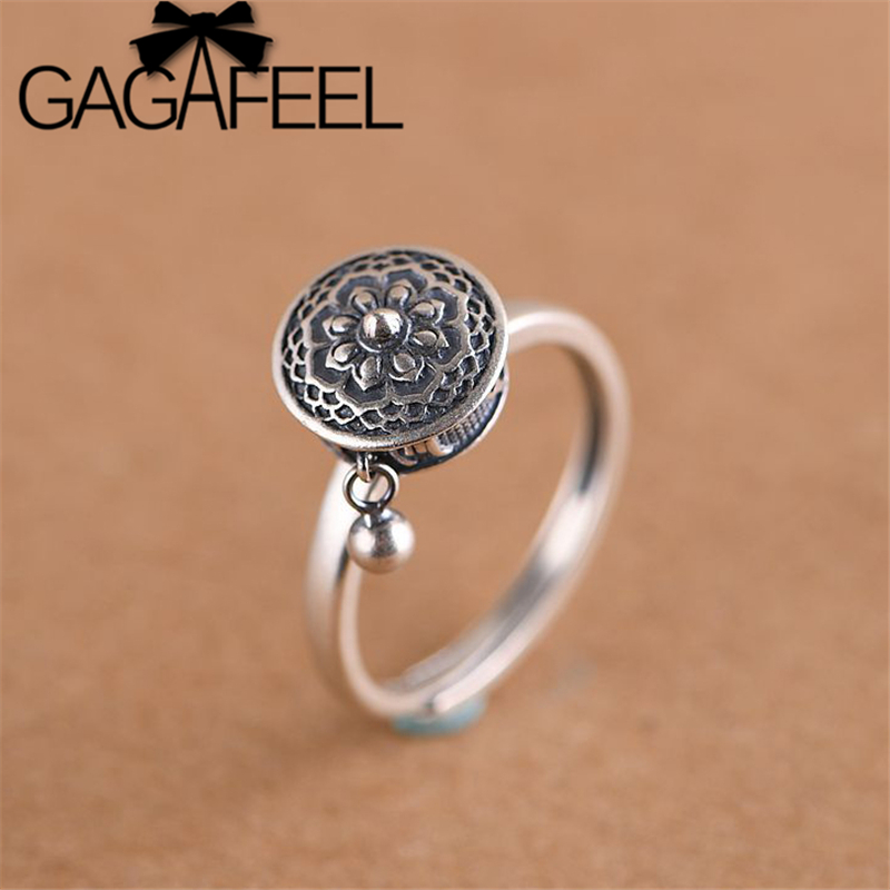 GAGAFEEL Retro Thai Silver Ring Women's Six-word Mantra Open Ring Prayer Wheel Design Jewelry S925 Sterling Silver Rings(China)