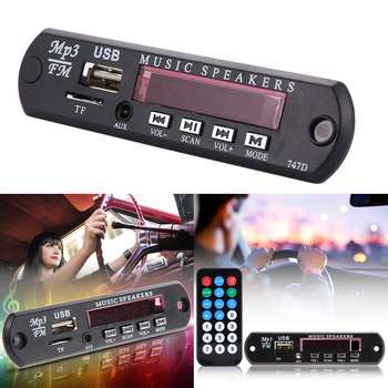 Car Wireless Bluetooth Remote Music Speaker MP3 Player WMA Decoder Board 12V Audio Module USB TF FM Radio For Car Accessory image