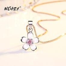 NEHZY – collier en argent Sterling 925 pour femme, bijou de haute qualité, rétro, Simple, rose, cristal, fleur, pendentif, Long 45CM