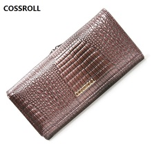 cow leather women wallets long genuine leather