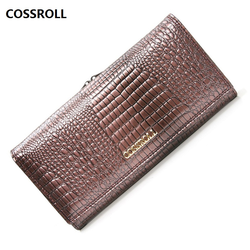 Cow Leather Women Wallets Long Genuine Leather Wallet Women  Luxury Brand Female Purse Real Leather Clutch Wallet