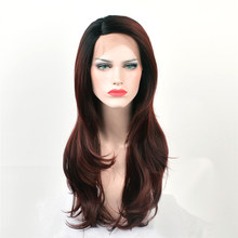 Alizing Front Lace Wig Ombre Black Burgundy L Part lace frontal Synthetic Hair Long Big Wave Wigs For Africa k008