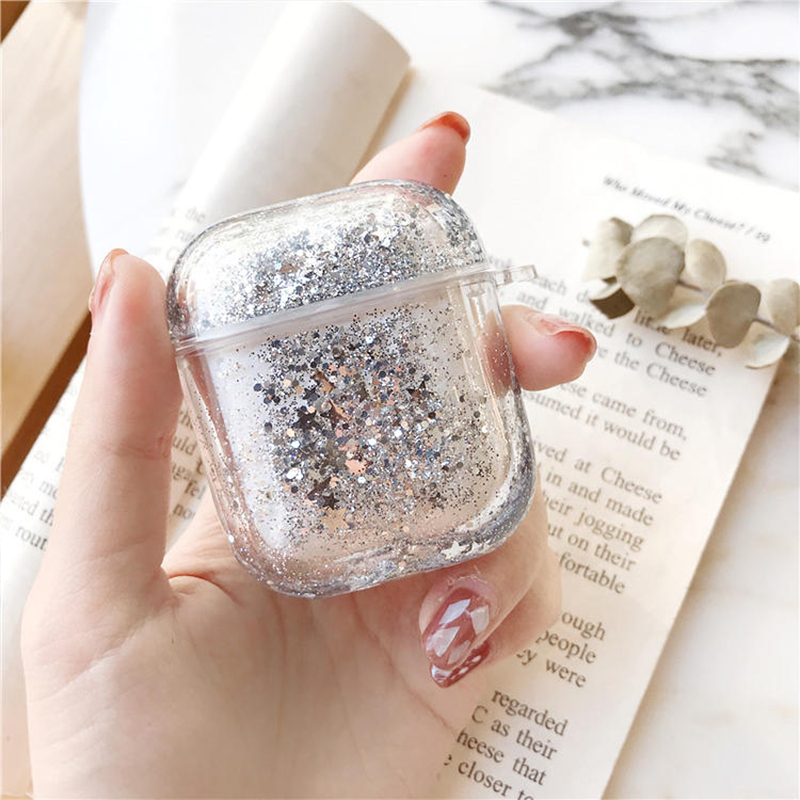 For AirPods Pro Colorful Glitter Dynamic Liquid Quicksand Crystal Clear Case for AirPods 1 2 Transparent Earphone Cover