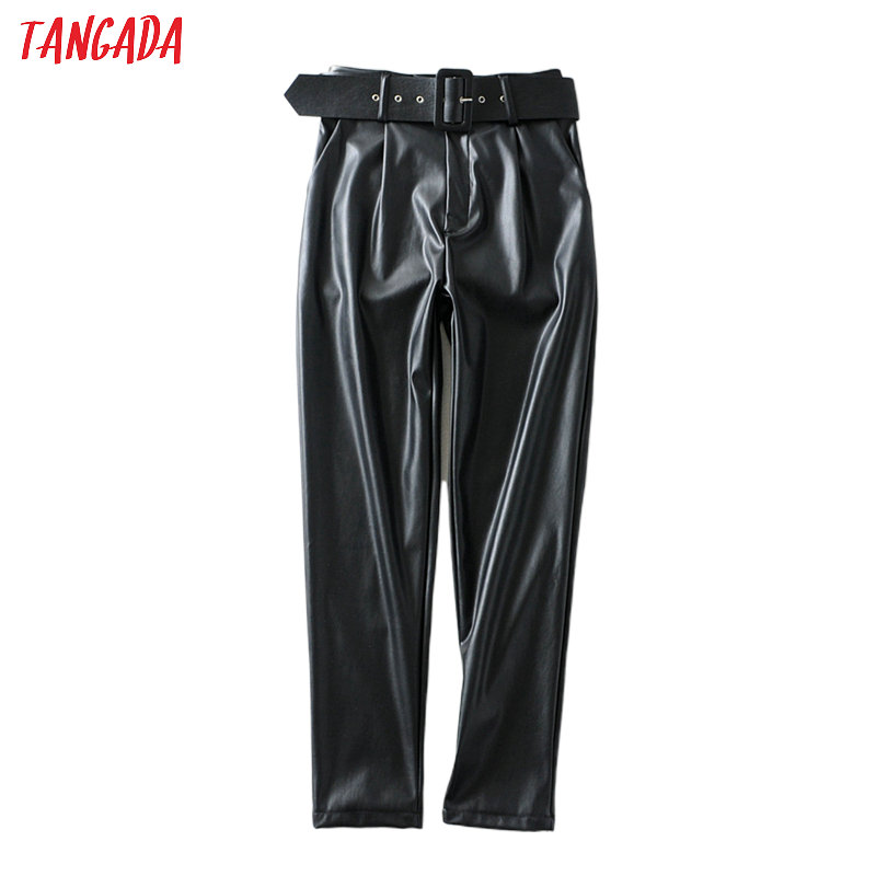 Tangada women black faux leather suit pants high waist pants sashes pockets 2019 office ladies pu leather trousers 6A05(China)