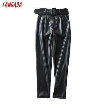 Tangada women black faux leather suit pants high waist pants sashes pockets office ladies pu leather trousers 6A05