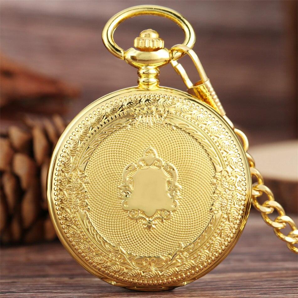 Relógio de Bolso do Vintage Presentes para Mulheres dos Homens Escudo Dourado Winding Mecânica Pocket Ver Steampunk Bolso Pingente Assista Reloj Mão