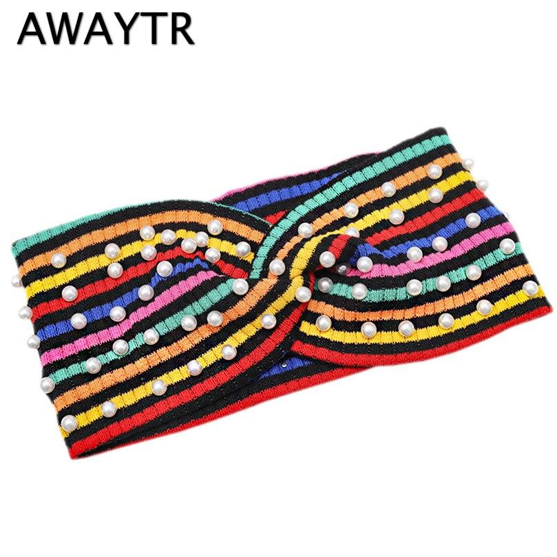 AWAYTR Rainbow Striped Pearl Headband Female Knitted Knot Turban For Women Headwear Autumn Winter Fashion Hair Accessories